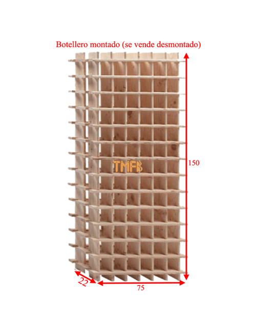 BOTELLERO MADERA DE PINO Mod. ARGANDA-078 botellas