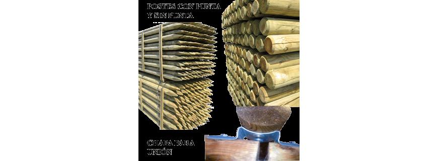 Postes y tutores de madera con tratamiento en autoclave R-4